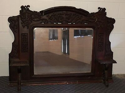 ANTIQUE Architecture Cast Iron Fireplace Mantle Original Beveled Mirror