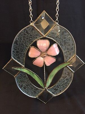 """Stained Glass/ Beveled Glass Window/Wall Hanging Art Pink Flower 3D 10"""" x 8.5"""""""