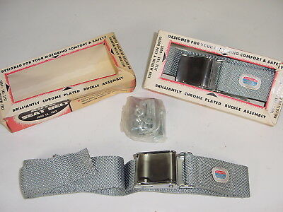 2 VINTAGE 1960'S NOS Universal Auto Seat Belts Gray w/Chrome Buckle Matched  Pair
