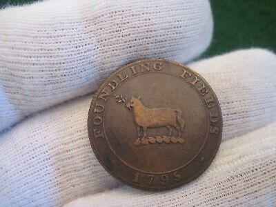 1795 Half Penny Foundling Fields Sheep Conder Token Colonial Coin