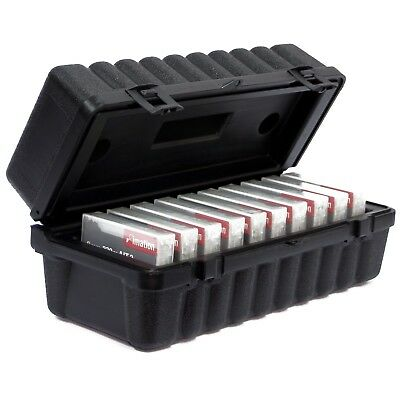 Turtle 8MM Cartridge Case up to 10 tape capacity, black with plastic clip-locks