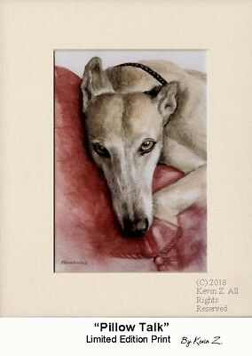 Greyhound Print Fawn Resting on Pillow Signed Art Pillow Talk Kevin Z Arttogo