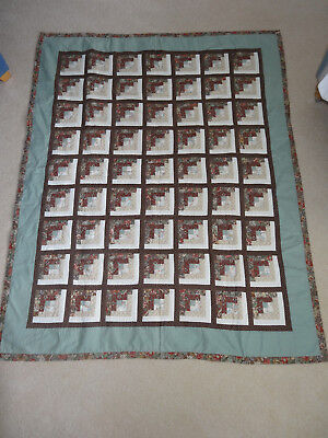 "Attractive Handmade, ""Log cabin"" Patchwork Quilt - 71"" X 56"""