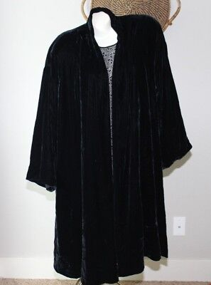 VINTAGE Ann Klein Black VELVET Swing Full Opera Coat long Jacket USA