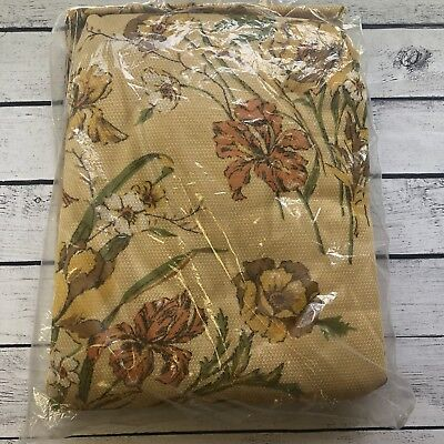 Vintage 1970s Couch Cover Tablecloth Floral Gold Orange  Polyester Fashion Throw