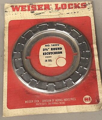Weiser Lock Trim Plate # 1632V Escutcheon Etched 26 Bright Chrome NIP