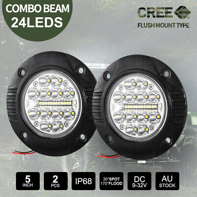 2x 60W CREE SPOT Round Flush Mount LED Lights 12V 24V Reverse Work Fog Lamp