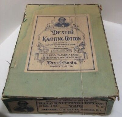 Old ca 1890 Dexter Knitting Cotton Sewing Thread Case of 20 Balls Pawtucket TMP