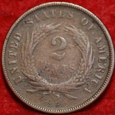 1867 Copper Philadelphia Mint Two Cent Coin