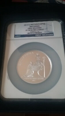 2013 Great Britain Britannia 5 oz Silver Proof Coin First Releases NGC PF70 UC