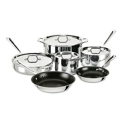 All-Clad Tri-Ply Stainless Steel 10 Piece Nonstick Cookware Set 401488NSR-R