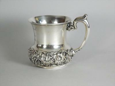 ALVIN STERLING SILVER CUP / MUG - FLORAL RELIEF DESIGN c.1904