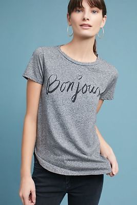 c9ca09f5e NWT Anthropologie Sol Angeles Bonjour Graphic Tee Shirt Size L Large Gray  $78