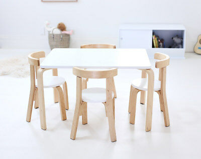 Hip Kids Jensen White Poplar Ply Wood Table and 4 Chairs Set Children Toddler