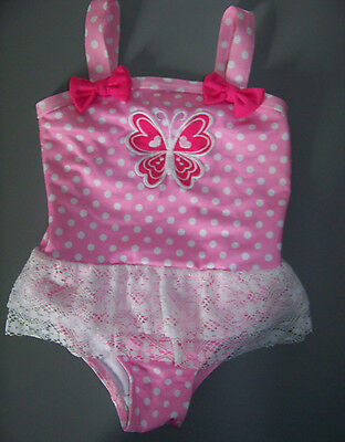 Baby Girls Penelope Mack Swimsuit Size 24 Months Pink, Polka Dots, Butterfly EUC