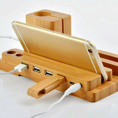 4 Port Bamboo Wood Charging Dock Stand Station Charger Holder For iWatch iPhone