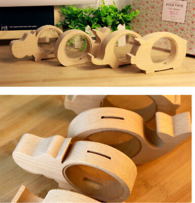 Creative Handcrafted Wooden Piggy Bank Saving Money Coin Box for Kids Tool HE