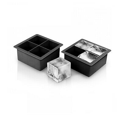 2 x Supa-Chill Silicone Jumbo Rocks Whisky Cocktail Blocks Ice Cube Trays Black