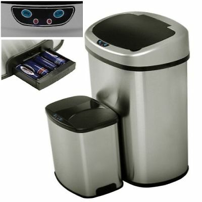 Kitchen Recycle Bin Stainless Steel Trash Can Automatic Garbage Office Dorm