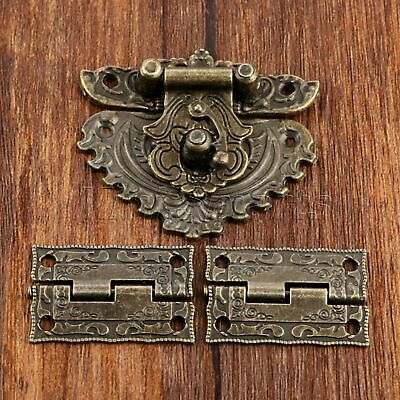 Antique Bronze Decor Carved Flower Cabinet Drawer Jewelry Box Latch Hasp & Hinge