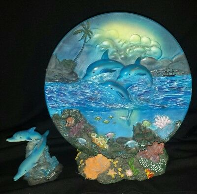 Who loves Dolphins?? Plate & Statue Great Gift Idea FREE SHIPPING CAN USA