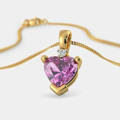 1.50Ct Heart-Cut Diamond Pendant Necklace 10k Yellow Gold - Without Chain