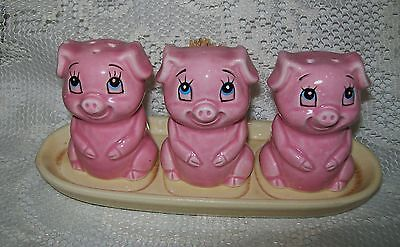 VINTAGE 4pc PINK PIGS SALT/PEPPER SHAKERS/TOOTHPICK HOLDER on TRAY Japan