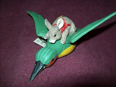 Charming Tails DEAN GRIFF Mouse Riding Bird Figurine SIGNED - 1995 - Excellent
