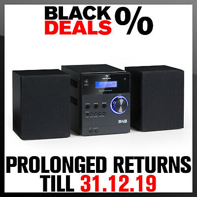 Bluetooth Stereo System CD MP3 Player DAB FM Radio LCD 2 x 5 W Bass Black Hi Fi