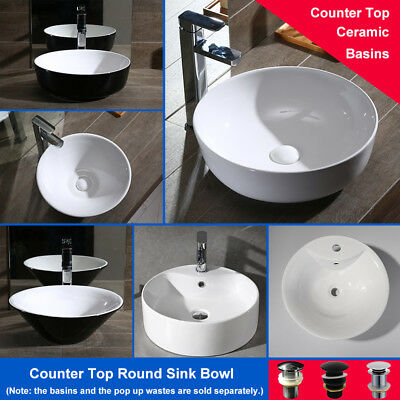 Above Counter Top Ceramic Basin Bathroom Vanity Round Glossy
