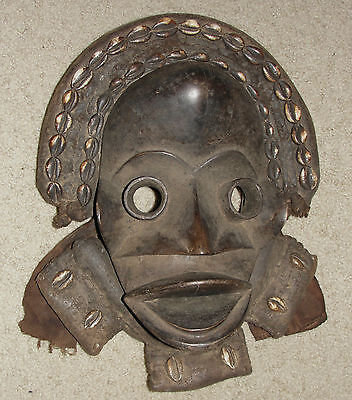 Fine Old Antique African Tribal Dan Zakpei Cowrie Shell Dance Mask Face Africa