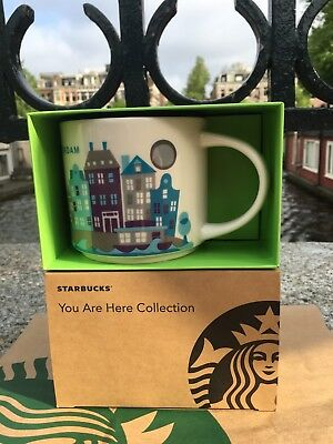 Starbucks Amsterdam City Mug YAH You Are Here 14oz W/ Coin and Dutch Stamp Card