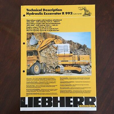 LIEBHERR R 992 Hydraulic Excavator Loader -Vintage Equipment Brochure Specs 1992
