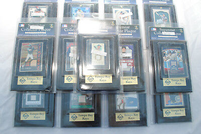 Tampa Bay Rays Baseball Card Collection, 15 Auto or Relic Cards in Team Plaques