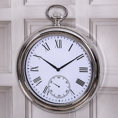 Silver Large Antique Pocket Fob Watch Style Wall Clock Home Gift Vintage Retro