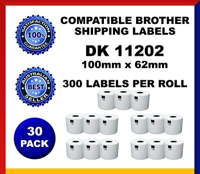 30 Refill Rolls DK11202 Brother Compatible Shipping Labels 62x100mm Label