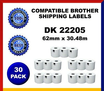 30 Refill Rolls DK22205 Brother Compatible Shipping Labels 62mm x30.48m Label