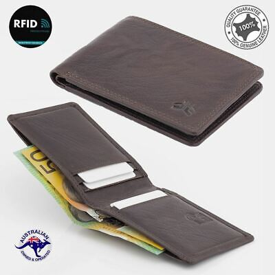 RFID Genuine Men's  Cowhide Rugged Leather Small Bi-fold Wallet Black Slim