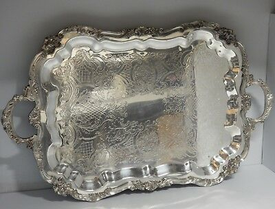 "SILVERPLATE FOOTED TWO HANDLE TRAY WAITER BUTLER SHERIDAN SIZE ( 29.75"" x 18"" )"