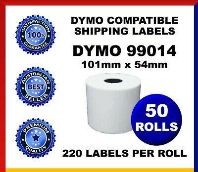 50 Rolls Dymo Compatible 99014 Labelwriter Label Shipping Labels 54mm x 101mm