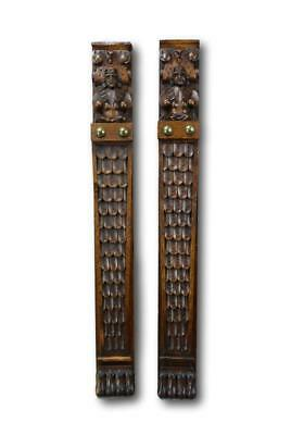 Architectural Pair of French Carved Figures Trim Posts, Oak Wood Trim Pillars