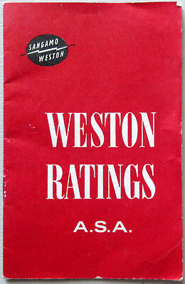 Vintage Weston  Ratings Asa , Guide Booklet For All Films & Plates