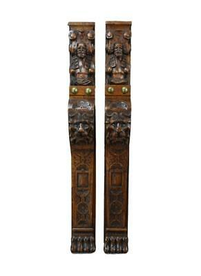 Exceptionnal Pair of Carved Lion Figures Trim Posts Pillars Wall Columns