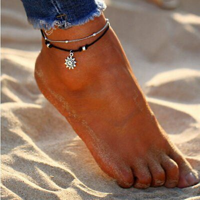 Vintage Boho Double Layer Beads Anklet Chain Foot Women Party Jewelry Gift New