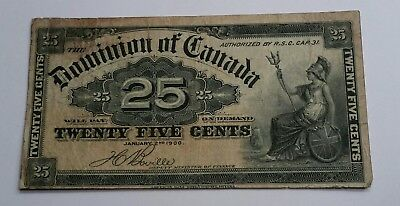 1900 Dominion of Canada - 25 Cents Shinplaster (Boville) Currency Banknote