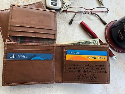 Personalized Mens Leather Wallet Fathers Day Gift for Men Dad From Daughter