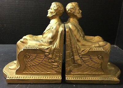 Antique Brass Finished Abraham Lincoln Bookends BR Inc. 1926 (1924) Very Good