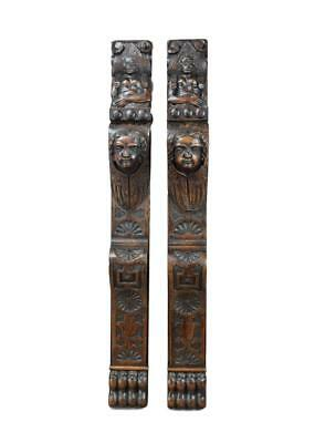 Pair of French Renaissance Style Cherub Trim Post Pillars Wall Column Paneling