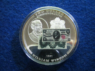U.S. William Windom $2 Note Tribute Large Proof Medal - Free U S Shipping