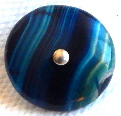 ELEGANT ANTIQUE 1870'S-1880'S BANDED SCOTTISH AGATE WAISTCOAT BUTTON w/PIN-SHANK